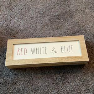 Rae Dunn Wooden Sign Red White & Blue
